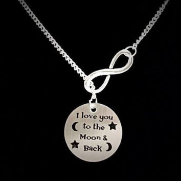 Infinity I Love You To The Moon And Back Sister Friend Gift Y Lariat Necklace