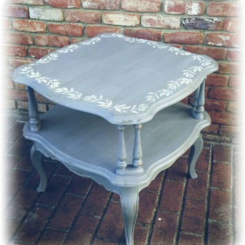 Vintage shabby chic end table, distressed side table, french country end table, country cottage, distressed end table, Upcycled, gray table
