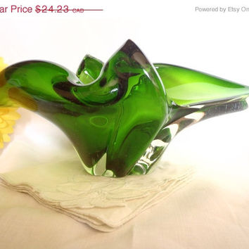 Christmasinjuly Murano serving bowl | vintage mid century | blown glass | green | home's deco | collectibles | serving dish | hand made | gi