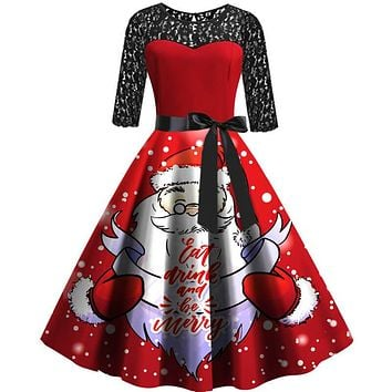 Christmas Retro Lace Splice Print Belt Dress