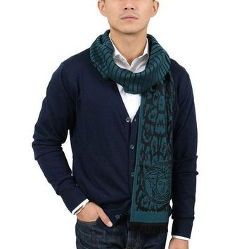 Versace It00634 Petrolio Teal 100% Wool Mens Scarf