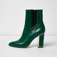 Green pointed block heel boots - Boots - Shoes & Boots - women