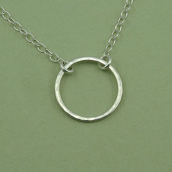 Circle of Life Necklace - sterling silver circle link necklace - modern jewelry - women's