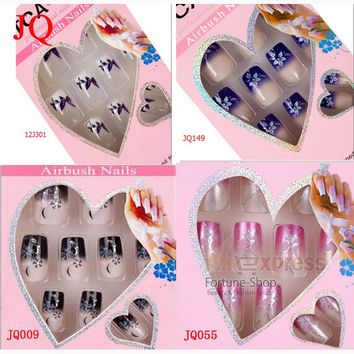 JQ 24pcs/set Fake Nails French Style For Nail Art Tips Pre Design Acrylic Nail Tips False Nails Free Glue
