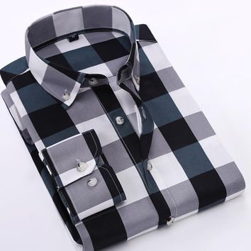 Plaid Shirts Mens Fashion Long Sleeve Turn-Down Collar Shirts For Men Slim Fit Dress Shirt Social