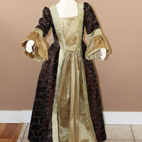 Chocolate and Gold Marie Antionette Childs Fairy Tale Dress Tudor Renaissance Medieval Costume Gown Size 8 Girls
