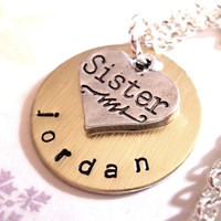 Sister Necklace, Personalized Hand Stamped Charm Necklace, Sister Necklace