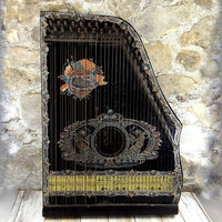 Antique German Zither, Ornate Mandolin Harp