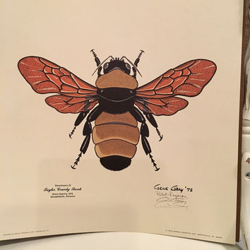Bugged by Gene Gray, Bumble Bee Print, Bee Print, Bug Print, Insect Print, Science, Insects, Artwork, Vintage Art, Retro, Signed Print