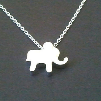 Tiny Elephant Necklace - Silver OR Gold - cute, small, tiny, simple, modern, everyday jewelry - lovely gift