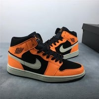 "Air Jordan 1 Mid ""Orange Black"" 554724-062"