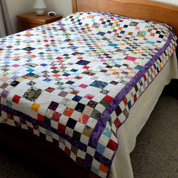 Colourful modern scrappy postage stamp style patchwork quilt, queen bed topper, full size patchwork quilt for double or single bed