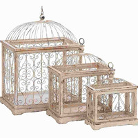 Benzara Durable Wood Metal Bird Cage with Celestial Designs (Set of 3)