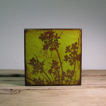 Lime Green Floral Art Block Painting Wall Hanging Flowers - MatchBlox-1710