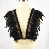 Satanic festival Rave clothing,burlesque feather bralette,Feather Bra,Crop Top Gypsy Lingerie,Goth Funny Witchy Costume
