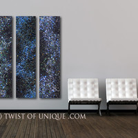 Blue Night sky abstract Painting / CUSTOM Painting ( 60 Inches x 15 Inches) / cosmos, milky way, stars, night sky, galaxy, space paintings