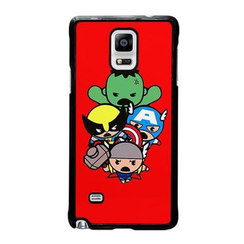 kawaii captain america hulk thor wolverine marvel avengers samsung galaxy note 4 case cover  number 2