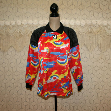 80s 90s Uhlsport Padded Soccer Shirt Colorful Print Sportswear Activewear Abstract Futball Sports Clothing Unisex Vintage Mens Clothing