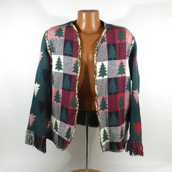 Ugly Christmas Sweater Handmade Hand made Cardigan Jacket Coat Vintage Materials