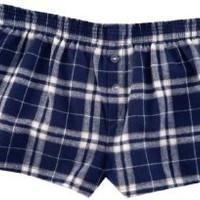 Navy Blue and Silver Check Novelty Print Flannel Boxer Shorts