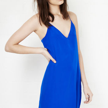 DailyLook: Lavender Brown Silk Racerback Tank Dress in Royal blue XS - L