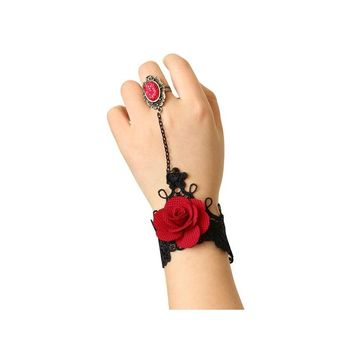 Handmade Rose Bracelet with Finger Ring