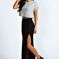 Soraya Black Thigh High Split Jersey Maxi Skirts