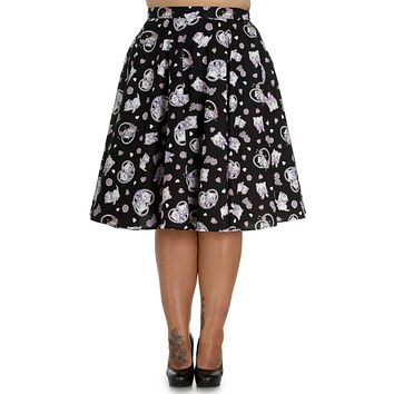 Kitty Blossom Kawaii Kittens and Floral Print Circle Skirt