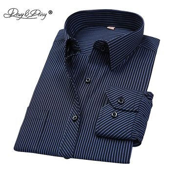 DAVYDAISY Hot Sale Spring Men Shirt Long Sleeved Striped Solid Plaid Male Business Shirt Brand Clothing Formal Shirt Man DS022