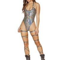 Roma Rave 3565 - 1pc High Cut Romper with O-Ring Detail