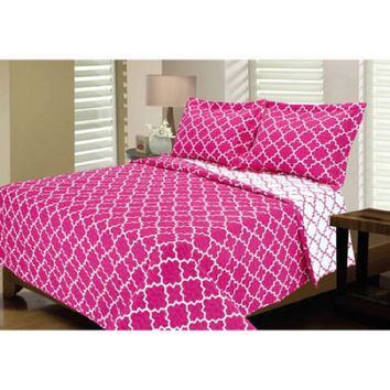 Eileen West Lattice Melange Home Super Soft Quilt Set, Pink, Twin