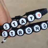 Couples Bracelets, Stay Strong, Heart Bead, Custom Bracelet, Boyfriend Girlfriend Gift, Wedding Anniversary gift, Valentine Gift