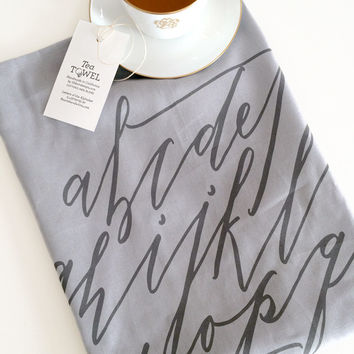 Alphabet Calligraphy Tea Towel