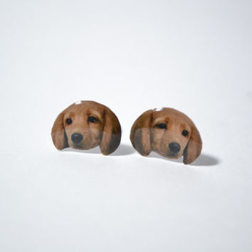 Dachshund Dog cute Jewelry Earrings , tiny jewelry, handmade items, Unique Gift with linen cotton bag