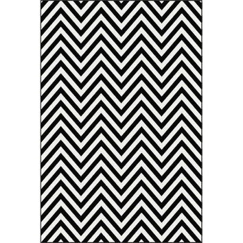Anthony Black/White Chevron Pattern Power-Loomed Area Rug