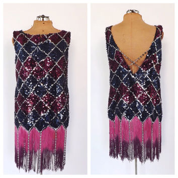 Ombre Fringe Flapper Dress 1920s Style Fringed Flapper Sequin Mini Dress Size Small Short Party Dress Gatsby Dance Costume Halloween Costume