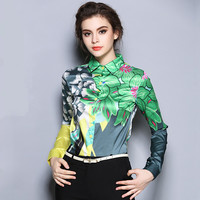 New Europe 2016 Summer Women's Temperament Printing Floral Blouses Shirts Casual Chiffon Clothing Tops Women Sexy Blouses Shirts