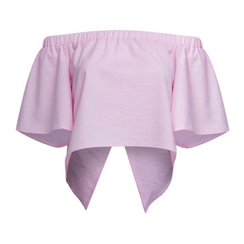 Pink Off Shoulder Wrap Back Asymmetric Cropped Top