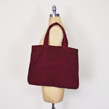 Vintage 90s Oxblood Burgundy Maroon Red Corduroy Purse Large Tote Bag Shoulder Bag Reusable Shopping Tote 90s Purse 90s Grunge Purse