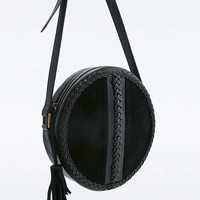 Black Suede Whipstitch Round Bag - Urban Outfitters