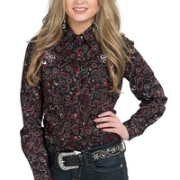 Cowgirl Hardware Women's Black and Red Paisley Print Western Shirt
