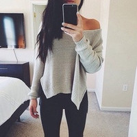 Autumn Women Long Sleeve Knitted Pullover Casual Loose Long Tops [8384176199]
