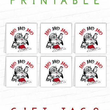 Printable Funny Christmas Gift Tags, Unique Gift Tags, Holiday Pirate Gift Tags, Unusual Gift Labels, Santa Pirate Hang Tags, Xmas Gift Tag