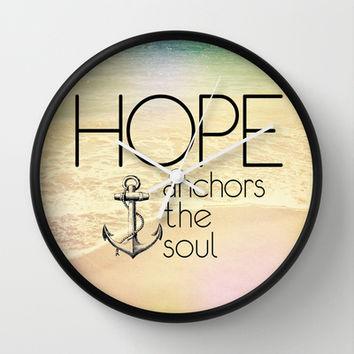 Hebrews 6:19 Hope anchors the soul Wall Clock by Pocket Fuel