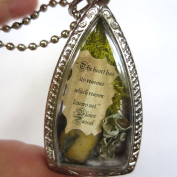 The Heart Has Reasons Love Pendant Miniature Message by FaerieNest