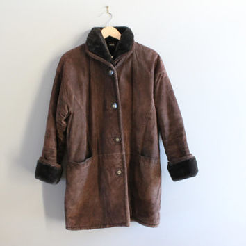 Genuine Leather Suede Coat Faux Fur Lining Dark Brown Suede Coat Shearling Hippie Boho Suede Jacket Vintage 80s 90s Size M - L