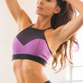 Bombshell Fit Diva Luxury Workout Top - Black / Purple