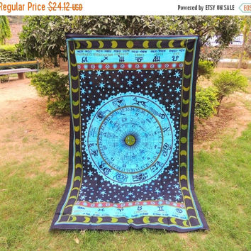 ON SALE Mandala Tapestry Hippie Boho Wall Hanging Sun Moon Stars Bedding Celestial Astrology Zodiac Sunsign Horoscope Bed sheet Home Wall De