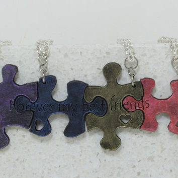 Puzzle Pieces 4 piece Leather Necklace Set Forever my best friends