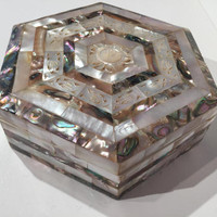 Mother Of Pearl & Abalone Jewelry Box, Vintage Hand Made Mother of Pearl Jewelry Box, Jewelry Trinket Storage Box w/Inlaid Mother of Pearl